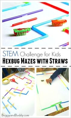 STEM Challenge for Kids: Build a Hexbug Maze with Straws (Fun science and engineering activity for a class or to do on a rainy day!) ~ http://BuggyandBuddy.com