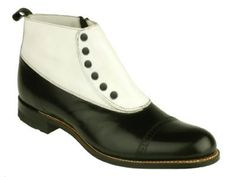 Men's Leather Spectator Spat Boots - Blk/Wht - $115.95 - SteamPunk