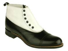 Men's Leather Spectator Spat Boots - Blk/Wht - $115.95 - SteamPunk