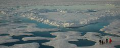 Aerial photo of researchers on Arctic sea ice