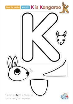 Preschool Letter Crafts, Alphabet Letter Crafts, Abc Crafts, Alphabet Activities, Letter Tracing, Craft Letters, Preschool Learning, Preschool Activities, Kangaroo Craft