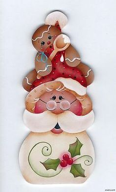 HP SANTA Gingerbread - Based on a Renee Mullins design. handpainted by Pamela House Gingerbread Crafts, Christmas Gingerbread, Christmas Wood, Christmas Projects, All Things Christmas, Christmas Holidays, Christmas Ornaments, Pintura Country, Country Paintings