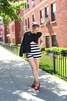 """Rachel Martino in our """"Face the Music"""" heels 