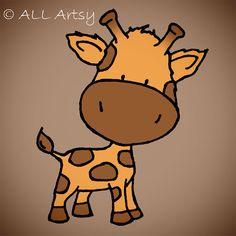 Baby Giraffe 5 x 5 Nursery Wall Art Print via Etsy
