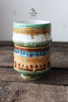 Ceramic bowls | Купить Набо бохо-пиал - коричневый, бирюзовый, пиала, пиалы, пиала ручной работы, стакан