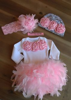 Newborn Girl Take Home Outfit Feather Couture Outfit Bloomer, Bodysuit, Zebra Beanie & Headband Cake Smash Birthday, Hospital Take Home