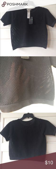 Forever 21 mesh crop top Very stretchy, I'm 5'8 and it hits right above the belly bottoms. Arm length hits right above the elbow. Mesh/completely see through. Forever 21 Tops Crop Tops