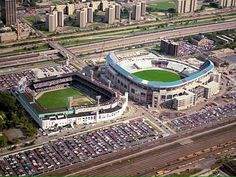 New Comiskey Park (aka U.S. Cellular Field, soon to be Guaranteed Rate Field) goes up next to Comiskey Park, 1990.