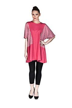 Womens Short Sleeve Tunic Shirt Mini Shift Dress with Rhinestones Fushia >>> Check out this great product.