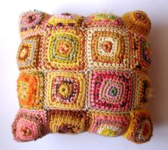 Square decorative pillow multicolor in shades of apricot by egle, €150.00