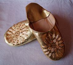 Maroccaanse sloffen, Babouches dames pailletten en kralen 23 cm, goud - maat 35, 36 - Babouches ladies gold 23 cm