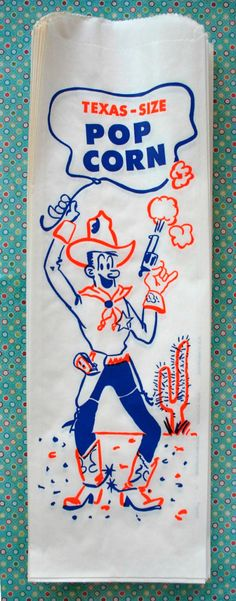 Vintage Style Texas Size Extra Large Popcorn Bags - Cowboy - Gusseted 6 x 19 Inches - set of 25