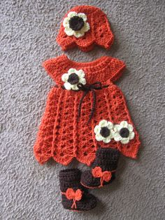 This Sweet Set was made using these 2 patterns http://www.craftsy.com/pattern/crocheting/clothing/shells-and-bells-newborn-dress-and-hat-/150838 http://www.craftsy.com/pattern/crocheting/accessory/crochet-baby-bootique-pattern/118060