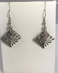 Resell for 6.00 or more Pewter ornate diamond  Surgical steel earwires Style #ODE111917g