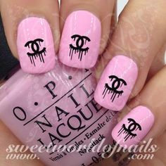 Celebrity Nail Art Dripping CC Logo Nail Water Decals Water Slides