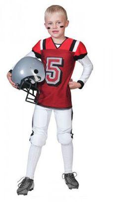 Rugbyspeler kostuum voor kinderen. Stoer rugby speler kostuum voor kids in de kleuren rood met wit. Inclusief shirt en broek, exclusief helm. Gemaakt van polyester. Carnavalskleding 2015 #carnaval