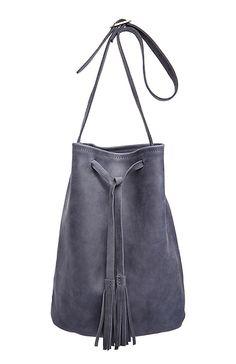 Jesslyn Blake Leather Bucket Bag in Navy | DAILYLOOK