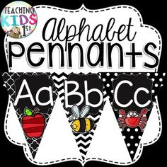 Eye catching black and white pennant banner Letters A-Z with pictures! Prints 1 per page. Most of the wonderful clip art I used came from the wonderful website: http://www.misskatecuttables.com/