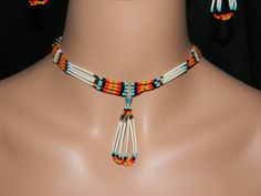 Native American Handmade Quill and Beaded Necklace and Earring