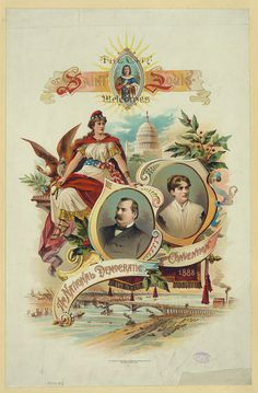St. Louis, Missouri, hosted the 1888 National Democratic Convention, where incumbent President Grover Cleveland was re-nominated. Cleveland and his wife Frances are pictured on the poster above from the Library of Congress Prints and Photographs Division.