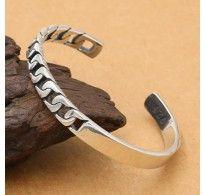 Men's Sterling Silver Half Curb Chain Cuff Bracelet