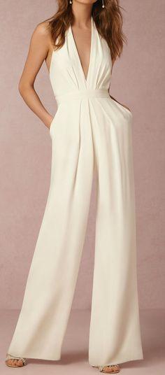 White Halter Sleeveless Jumpsuit