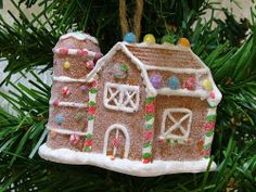 New Candycane Gingerbread Barn Ginger Bread Cookie House Christmas Tree Ornament
