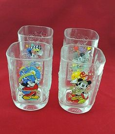 Set of 4 McDonald's - Walt Disney World 2000 Celebration Glasses Made in France