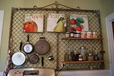 Don't have a kitchen wall big enough for this, but I love it anyway. (This blog has a lot of ideas.)