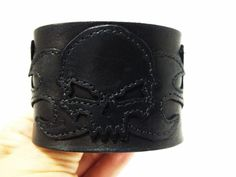 Black Leather Skull and Flames Bracelet by ChristyKeysCreations, $34.00