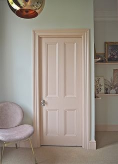 Hallway Makeover Reveal With M&L Paints — MELANIE LISSACK INTERIORS Light pink door colour. Painted internal door in plaster pink. Interior Door Colors, Painted Interior Doors, Black Interior Doors, Painted Doors, Home Interior Design, Painted Bedroom Doors, Interior Painting Ideas, Home Painting Ideas, Bedroom Door Design