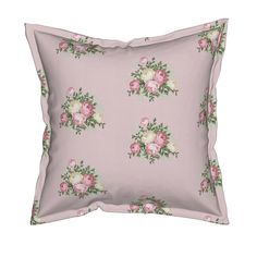 Serama Throw Pillow featuring Pretty Shabby Chic Small Rose Pink by thatsgraphic | Roostery Home Decor