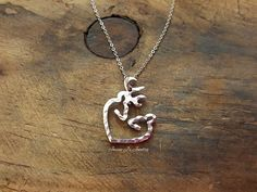 Buck/Doe Heart Necklace, Deer Heart Necklace, Gift for Her, Her Buck His Doe Necklace, Textured Necklace, Christmas Gift, Anniversary Gift by JazzieJsJewelry on Etsy