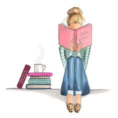 """Nichols Illustration — """"Stay inside and read"""" kinda weather 💗. Art And Illustration, Illustrations, I Love Books, Good Books, Copic Art, Book Nerd, Fashion Sketches, Book Lovers, Book Worms"""