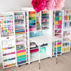 Create the perfect craft room with this amazing storage organizer! Perfect for scrapbookig, sewing and vinyl cutting. crafts room The Original ScrapBox DreamBox Craft Room Organizer Craft Room Storage, Craft Room Organisation, Craft Room Closet, Office Organization, Storage For Art Supplies, Organizing Ideas, Organizing Sewing Rooms, Organized Craft Rooms, Office Storage Ideas