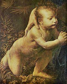 Vergine delle rocce, Leonardo da Vinci, dettaglio, Giovanni Battista