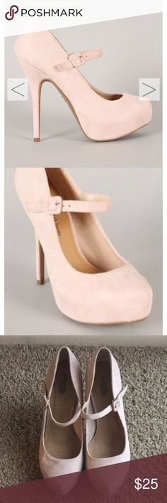 Light pink Mary Jane pumps Lightly worn! Some minor scuffs. Charlotte Russe Shoes Heels