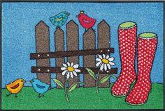 Details: Fröhliches Gartenmotiv, Kräftige Farben, Vielseitig einsetzbar, Rutschhemmende Beschichtung, Qualität: 1,92 kg/m² Gesamtgewicht, 7 mm Gesamthöhe, Rücken 100% Nitrilgummi, Rutschhemmende Beschichtung auf der Unterseite, Flormaterial: 100 % Polyamid, Wissenswertes: Waschbar bei 60 Grad, Trocknergeeignet bis zu 90 Grad, Die wash+dry Design Fußmatte ist rutschfest und für alle saube...