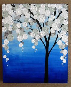 Blue and Grey Textured Tree    Original Acrylic Painting on Canvas    Size: 20x24  Depth: 1.5  Color: This painting has a nice range of blues --