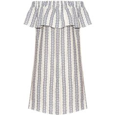 Sea Striped linen off-the-shoulder dress found on Polyvore featuring dresses, stripe dress, linen dress, off-the-shoulder dress, white off shoulder dress and off the shoulder summer dresses
