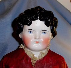 "25"" Dolley Madison 1870's China Doll with Black Hair and Bow from hattonsgalleryofdolls on Ruby Lane"