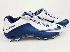 hot sale online 93df9 3439d Nike Alpha Pro 2 II Low TD Mens Football Cleats White   Navy Blue 9 for sale  online   eBay