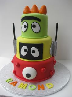 Google Image Result for http://www.theartofcake.net/Yo_Gabba_Gabba_First_Birthday_Cake.JPG