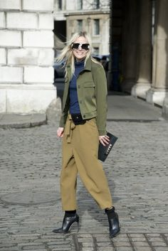 A military-inspired look gets a quirky spin with fun sunglasses.   theglitterguide.com