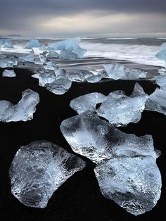 Chunks of ice against black basalt on the coast of Iceland.