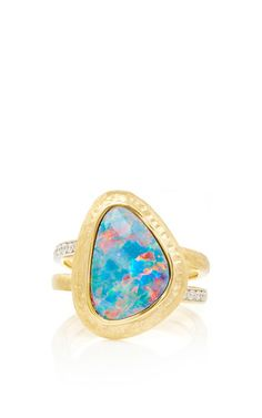 18K Yellow Gold, Opal Doublet and Diamond Ring by Jorge Adeler for Preorder on Moda Operandi
