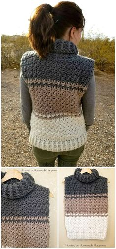 I have gathered a huge list of some of the best and stylish free crochet sweater patterns for your inspiration.Cowl Vest Sweaters Hoodie Cozy And Stylish Crochet Sweater - Patterns And Ideas - Craft Ideas Pull Crochet, Gilet Crochet, Crochet Hoodie, Crochet Vest Pattern, Crochet Vests, Crochet Sweaters, Hat Crochet, Crochet Tops, Crochet Baby