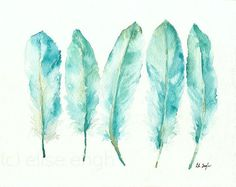 Blue Goose Feathers Painting Watercolor Giclee door GrowCreativeShop