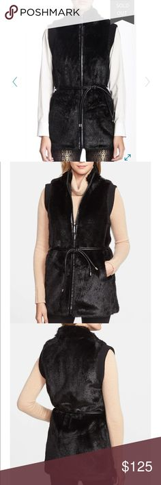 Hilary Radley Black Faux Fur Vest ❄️ High-quality faux fur winter vest with leather trim on the zipper and belt! Belt is included and in great condition, just not pictured. Interior is a luxurious silky/satin texture that will lay nicely over your clothing. Two open pockets are on each side. Dry clean only. SOLD OUT at Nordstrom! ⚫️ Hilary Radley Jackets & Coats Vests