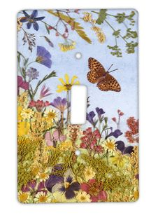 Light Switch Plate Pressed Flower Art.